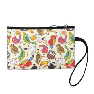 Funny Birds Illustrations Pattern Coin Purse