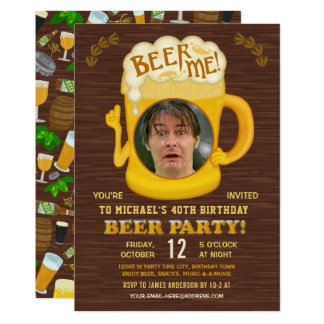 Funny Birthday Beer Party Adult Drinking Add Photo Card