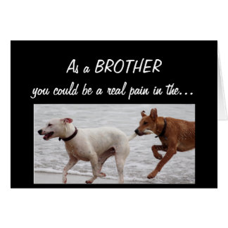 Funny Birthday Brother Pain in the Cute Dogs Card
