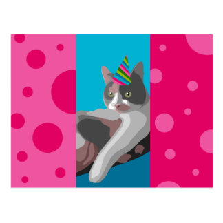 Funny Birthday Calico Cat with Party Hat Postcard