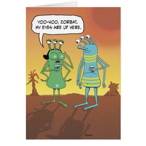 Funny birthday card: Alien jerk