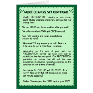 Funny Birthday Card:  Birthday Suit Cleaning Card