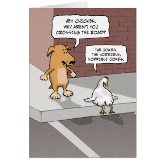 Funny birthday card: Dog and Chicken Greeting Card