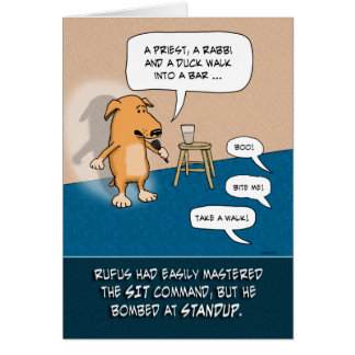 Funny birthday card: Standup Dog Greeting Card