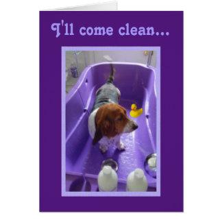 Funny Birthday Card w/Basset, Duck, & Bathtub