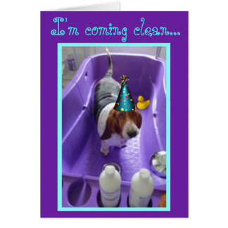 Funny Birthday Card w/Basset & Duck in Bathtub