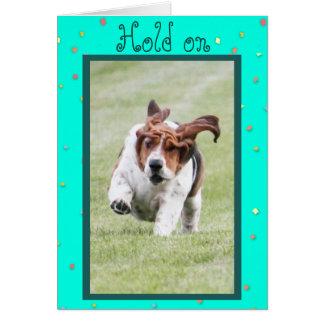 Funny Birthday Card w/Cute Basset Hound & Cupcakes