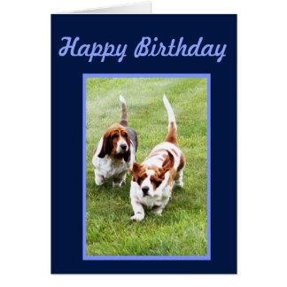 Funny Birthday Card w/Cute Basset Hounds & Cake