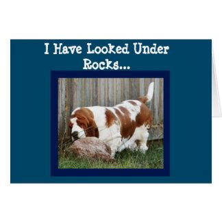 Funny Birthday Card w/Cute Basset Searching