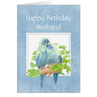 Funny Birthday for Husband Parrot Couple Birds Greeting Card