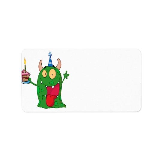 funny birthday monster cartoon character address label