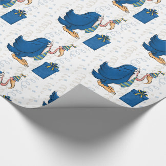 Funny Birthday Old Male Buzzard in Blue Stripe Tie Wrapping Paper