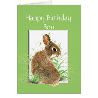 Funny Birthday Son, Cute Rabbit, Carrot Cake Note Card