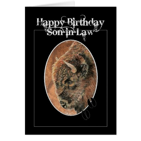 Funny Birthday Son-in-Law, Bison, Buffalo Animals Card