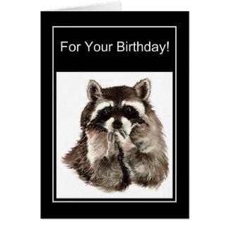 Funny Birthday Watercolor Raccoon Blowing Kisses Card
