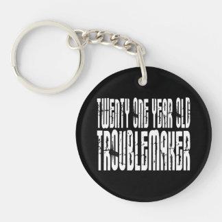 Funny Birthdays : Twenty One Year Old Troublemaker Single-Sided Round Acrylic Keychain