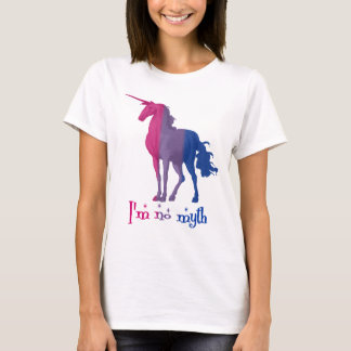 "Funny Bisexual Flag Colors Unicorn ""I'm No Myth"" T-Shirt"