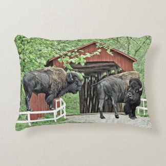 Funny Bison At The Covered Bridge Decorative Cushion