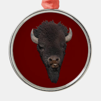funny bison Silver-Colored round decoration