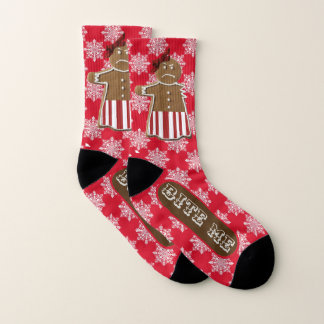 "Funny ""Bite Me"" Gingerbread Woman and Snowflakes Socks"