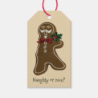 Funny Bitten Gingerbread Gentleman Gift Tags