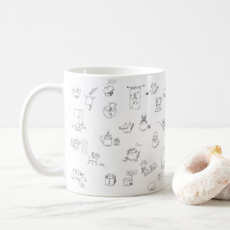 Funny black and white cat doodle coffee mug