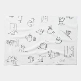 Funny black and white cat doodle tea towel
