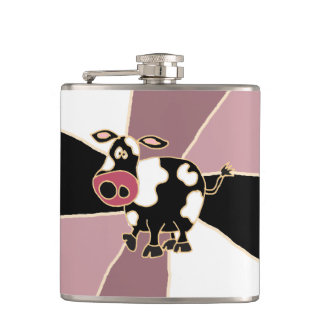 Funny Black and White Cow Art Hip Flask