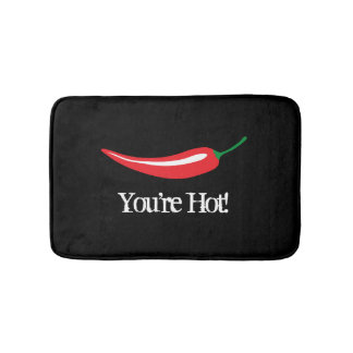 Funny black bathmat with red hot chili pepper icon