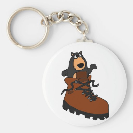 Funny Black Bear in Brown Hiking Boot Key Chain