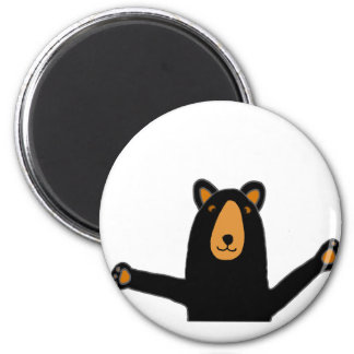 Funny Black Bear Ready to Hug 6 Cm Round Magnet