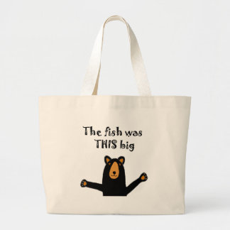 Funny Black Bear Telling Fish Story Large Tote Bag
