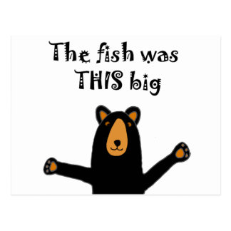 Funny Black Bear Telling Fish Story Postcard