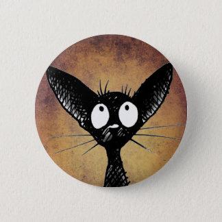 Funny black cat art button badge