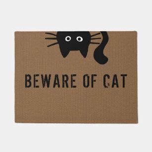 Funny Black Cat - Beware of Cat - Custom Text Doormat