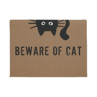 Funny Black Cat - Beware of Cat - Custom Text Doormat