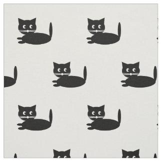 Funny Black Cat Cartoon Fabric