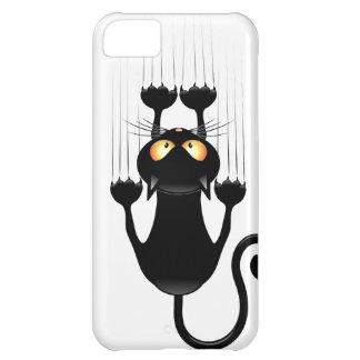 Funny Black Cat Cartoon Scratching Wall iPhone 5C Case