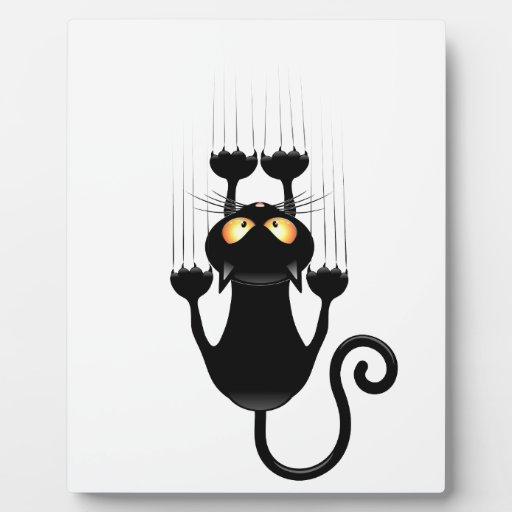 Funny Black Cat Cartoon Scratching Wall Display Plaque