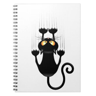 Funny Black Cat Cartoon Scratching Wall Spiral Note Book
