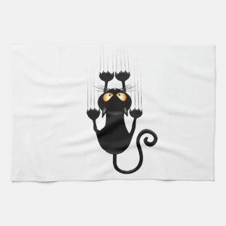 Funny Black Cat Cartoon Scratching Wall Tea Towel