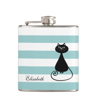 Funny black cat elegant stripes baby blue monogram hip flask