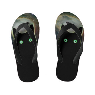 Funny Black Cat Fact Flip Flops Thongs