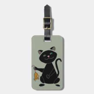 Funny Black Cat Holding Brown Mouse Luggage Tag