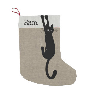 Funny Black Cat Small Christmas Stocking