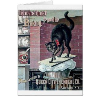 Funny black cat vintage baking powder poster ad card