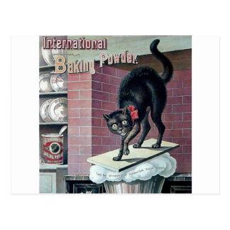Funny black cat vintage baking powder poster ad postcard