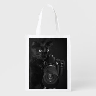 Funny Black Cat with the Camera Reusable Grocery Bag