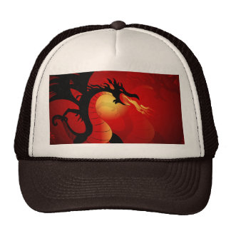 Funny black dragon spewing out fire hats