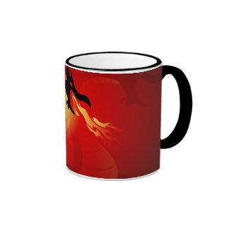 Funny black dragon spewing out fire mug
